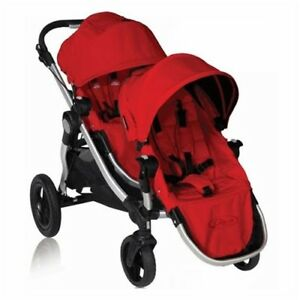 Baby Jogger City Select Double Stroller Red w 2nd Seat Kit