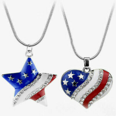 HEART PATRIOT US FLAG ENAMEL PENDANT NECKLACE W/INSET RHINESTONES-SILVER LAYERED