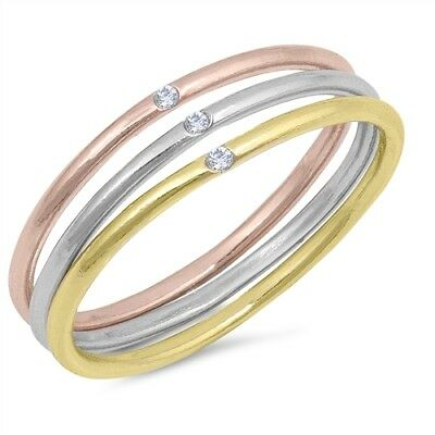 Three Tone Tri Color Clear CZ Stackable Ring Set .925 Sterling Silver Sizes 4-10