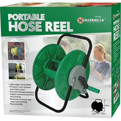 PORTABLE HOSE REEL GARDEN WATERING PIPE FREE STANDING WINDER QUALITY COMPACT NEW