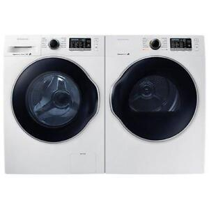 "SAMSUNG 27"" FRONT LOAD WASHER & DRYER SET. WHITE. BRAND NEW. SUPER SALE $1099.00 NO TAX."