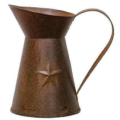 Rustic Primitive Rusty Tin Pitcher with embossed star country home decor