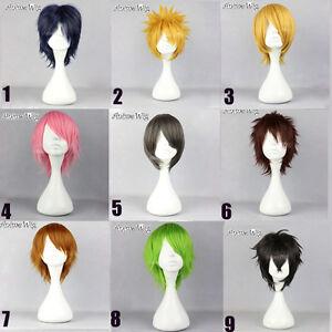 30CM-Short-Straight-Layered-Hair-Anime-Men-Women-Basic-Cosplay-Wig-9-Colors