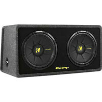 "Kicker-CompR Dual 12""Dual-Voice-Coil 2-Ohm Subs with Enclosure"