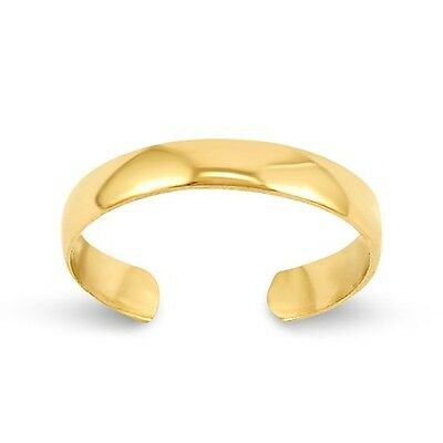 14k Solid Yellow Gold 3mm Toe Ring Plain Adjustable Band  0.58 grams