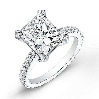 1.90 Ct. Radiant Cut Diamond Eternity Style Engagement Ring E,VS2 GIA White Gold
