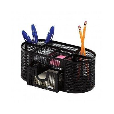 Desk Pen Organizer Black Office Holder Metal Pencil Storage Tray