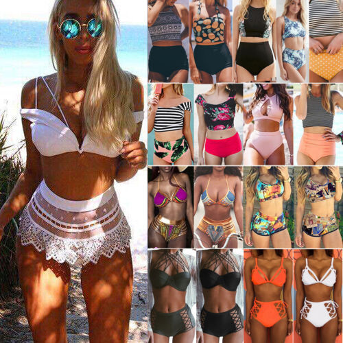 Damen High Waist Bikini Set Push Up BH Badeanzug Strand Bademode Schwimmanzug DE