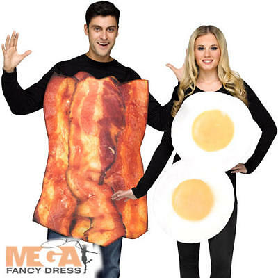 Womens Bacon Costume (Bacon & Eggs Adults Fancy Dress Couple Pairs Breakfast Food Mens Womens)