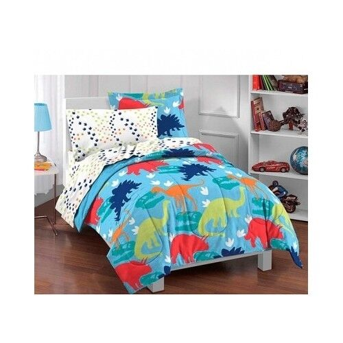 Dinosaur Twin Comforter Boys Bedding Bed In A Bag 5 PC Sheet