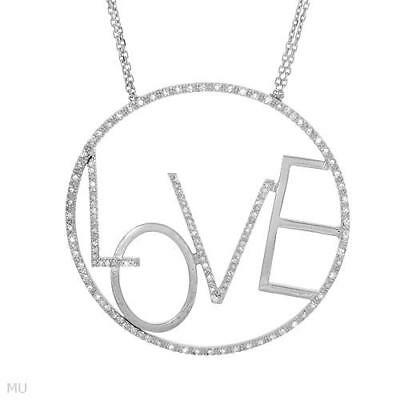 """Circle"""" Love"""" Necklace W/Genuine Clean Diamond in 925 Sterling Silver 18in"""