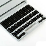 "38 PCS 3/8"" & 1/2"" Drive Combo Impact Socket Set High Impact Tools w/ Case"