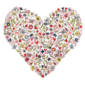 Bothy Threads LOVE HEART cross stitch kit