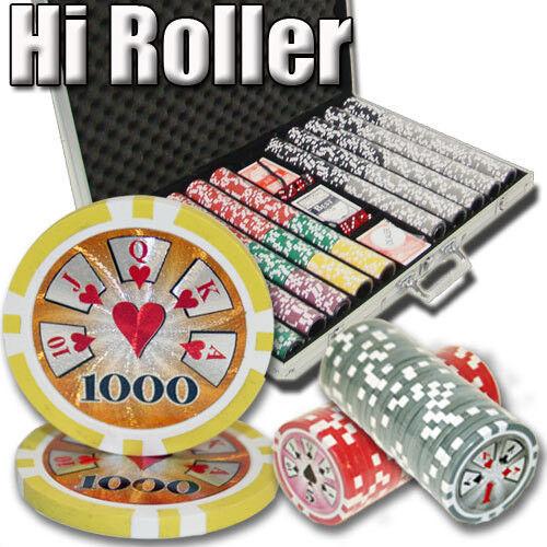 NEW 1000 Piece High Roller 14 Gram Clay Poker Chips Set Aluminum Case Pick Chips
