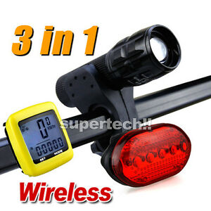 LCD-Bicycle-Speedometer-5-LED-Mountain-Bike-Cycling-Light-Head-Rear-Lamp