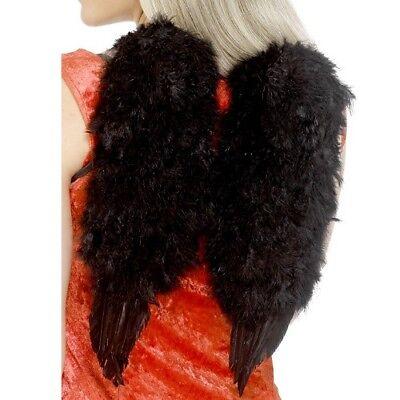 Smiffy Engel Kostüm (Kostüm Federflügel Schwarz Engel Flügel 40x30cm von Smiffys)