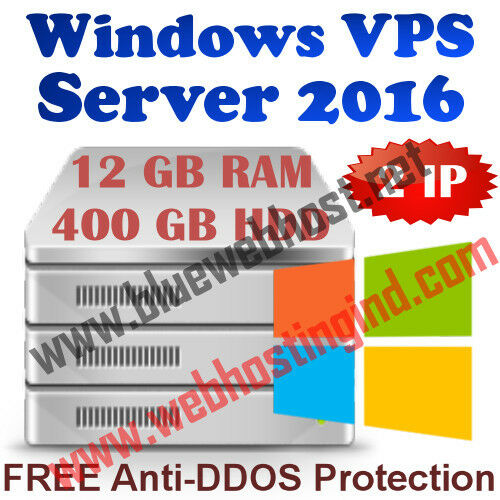 Windows 2016 Vps (virtual Dedicated Server) 12gb Ram + 400gb Hdd + Ddos