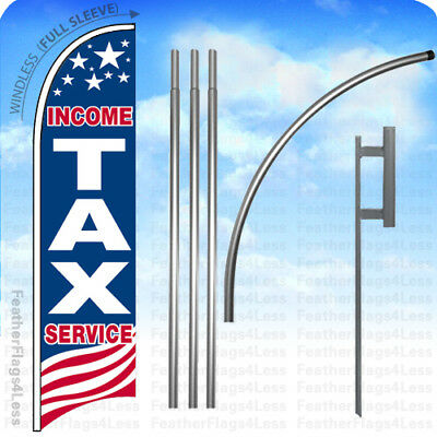 Income Tax Service - Windless Swooper Flag 15 Kit Feather Banner Sign - Usa Bb