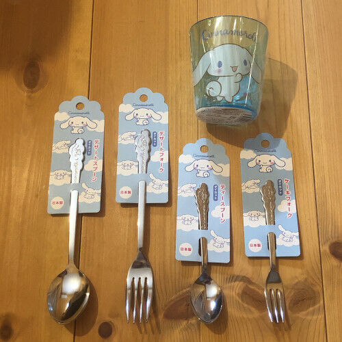 SANRIO Cinnamoroll Tea spoon Desert Cake fork Cutlery Cup SET JAPAN  Lot JAPAN