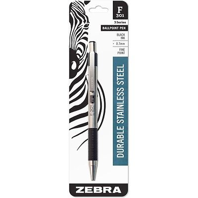 Zebra Pen F-301 Ballpoint Pen Fine Pen Point Type 0.7 Mm Pen Point Size Black
