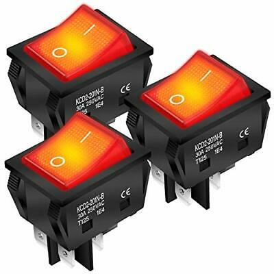 Daiertek 3pcs 30a 250v Kcd2 Kcd4 Rocker Switch 4 Pin Dpst Red Lighted Toggle On-