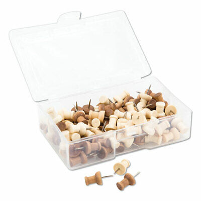 Fashion Push Pins Wood Assorted 38 100pack