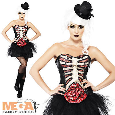 Zombie Burlesque Halloween (Burlesque Zombie Skeleton Ladies Fancy Dress Halloween Womens Horror Costume)