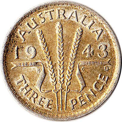 1943 Australia 3 Pence Silver Coin George VI KM#37