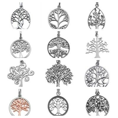 925 Sterling Silver Tree Of Life   Trinity Tree Pendant With Snake  08 18  Chain