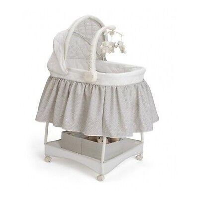Baby Infant Newborn Gliding Bassinet Cradle Crib Nursery Furniture Mobile Toy