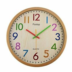 Foxtop Silent Kids Wall Clock 12 Inch Non-Ticking Battery Operated Colorful Deco