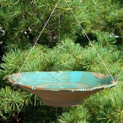LARGE CERAMIC TEAL HANGING BIRD BATH