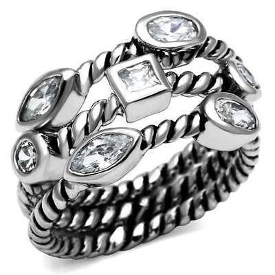 Classic Cable Designer Inspired Multi-Shape Clear CZ Stainless Steel Ring 5-10