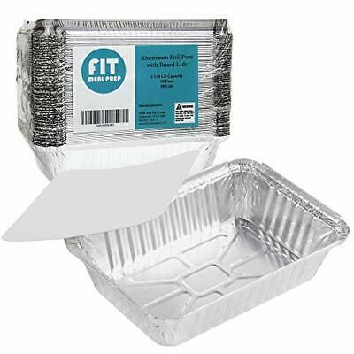 50 Pack Rectangular Disposable Aluminum Foil Pan Take Out Food Containers Wit...