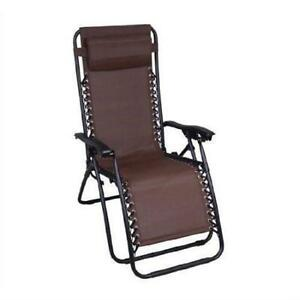 NEW Lounge Chairs, Deck Chairs, Brown Outdoor Zero Gravity Patio Recliner Lounge Chair