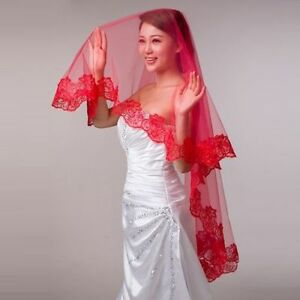 NEW! Gorgeous RED Wedding Bridal Veil