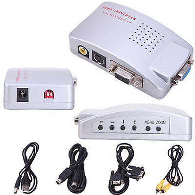 Computer Vga To Tv Rca Composite Converter Adapter S Video Box Pc Laptop Lcd Em