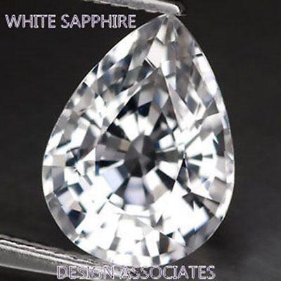 NATURAL WHITE SAPPHIRE 8X5 MM PEAR CUT DIAMOND COLOR