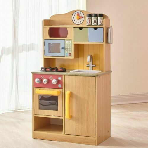 Kitchen Play Set For Kids Wooden Playset Toy Pretend Baker C