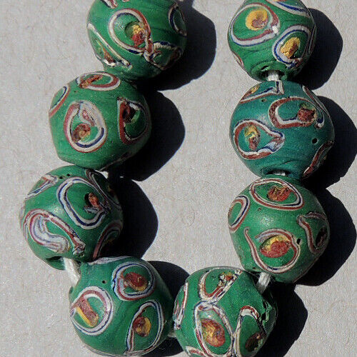 8 old antique venetian small round fancy beads african trade #1881