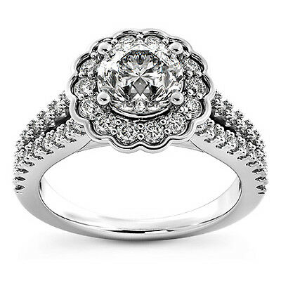 1 Ct Round Cut Enhanced D/VS Diamond Solitaire Engagement Ring 14k White Gold