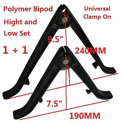 """9.5""""+7.5"""" Universal Clamp On Polymer Barrel Bipod Two PC Combo, High and Low"""