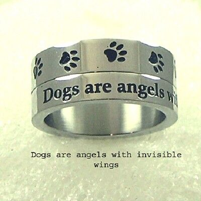 Dogs are Angels Spinner Ring Stainless Steel Dog Paw Print Wide Band