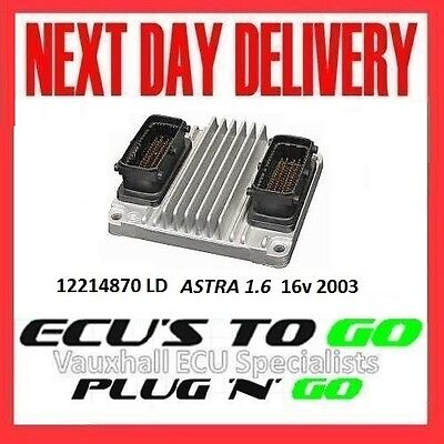 VAUXHALL /OPEL ECU ASTRA  ECU 1.6 PLUG N PLAY ENGINE CODE Z16XE 12214870 LD 2003 for sale  Shipping to Ireland