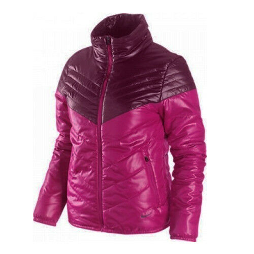 Details about Nike Primaloft Insulated Womens Purple Pink Jacket Full Zip Coat 477169 615 X25A