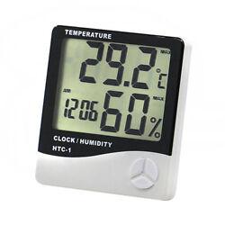 White Digital LCD Temperature Thermometer Hygrometer Humidity Meter Clock