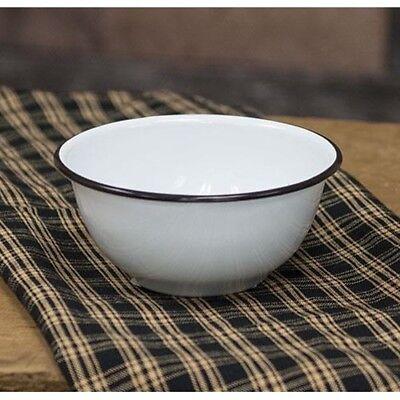 NEW Vintage BLACK RIM Country White Enamel Cereal Bowl Primitive chic Home Décor