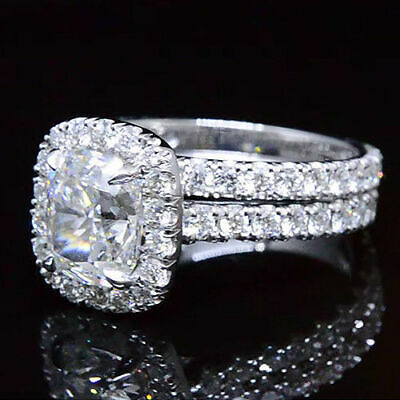14K White Gold 3.20 Ct Cushion Cut Halo Diamond Engagement Ring Set  G,VS1 GIA