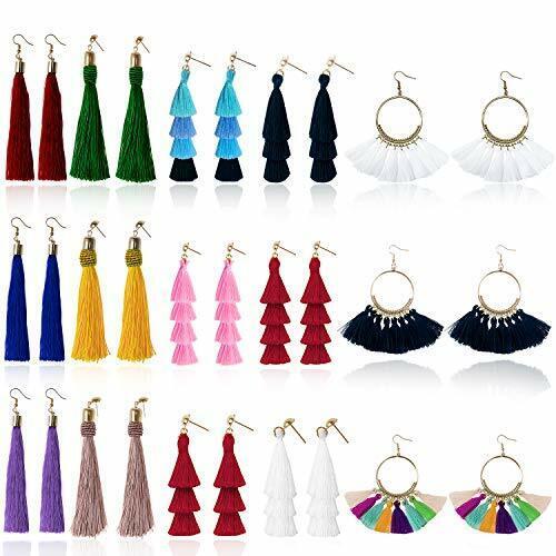 Tassel Earrings for Women Fashion - 15 Pack Colorful Drop Ho