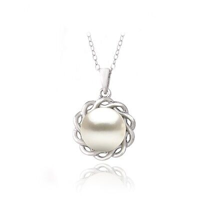 (925 Silver Freshwater Cultured Pearl Twisted Flower Necklace, 18